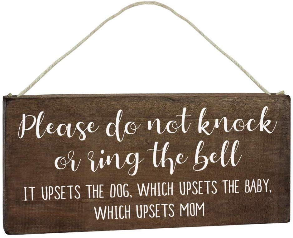 Baby Sleeping Sign for Front Door - Hilarious, Funny Do Not Knock or Ring Sign