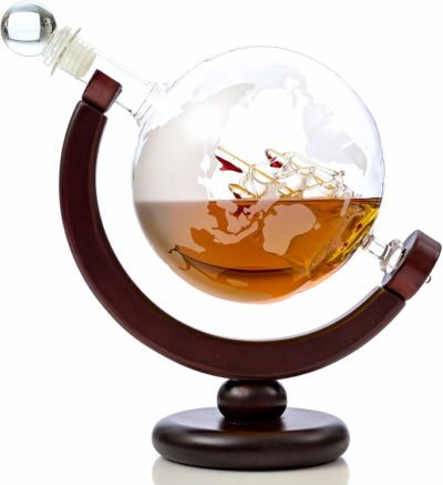 Whiskey Globe Decanter Set with Etched World Map and Antique Ship