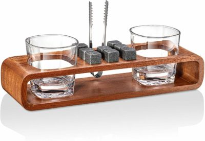 Rocksly Whiskey Stones Gift Set with Stand - 13-Piece Handcrafted Whiskey Glass Set