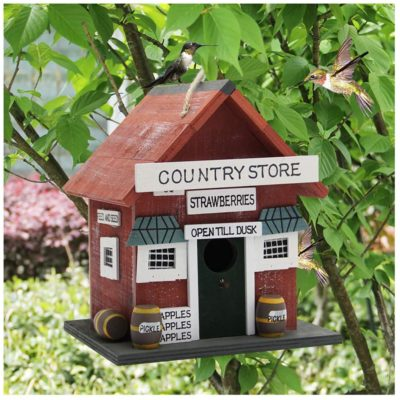 MorTime Wood Bird House, Retro Arts and Crafts Country Cottages Bird House