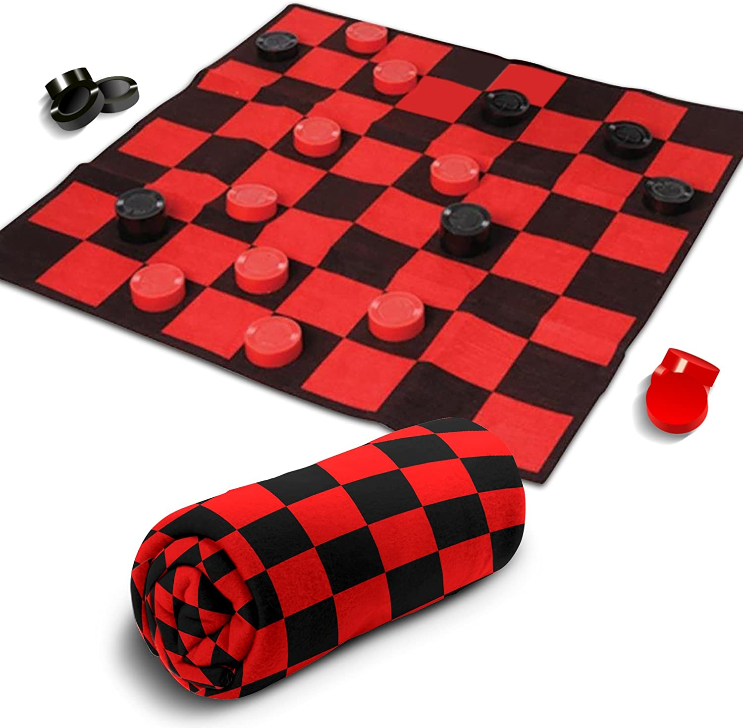 Giant Checkers Rug Set by Gamie - 34.5 x 34.5 Inch Jumbo Checker Board